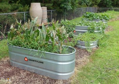 Raised-bed production garden in agricultural troughs