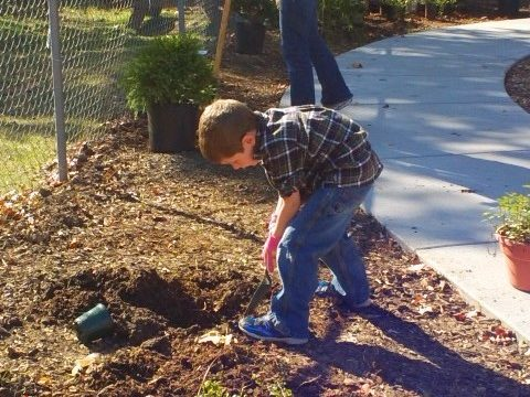 Jacob & Mom Planting @ Pick Up