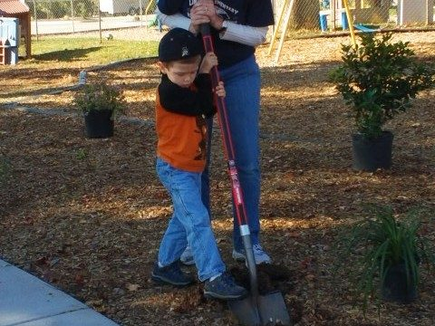 Timothy & Mom Planting