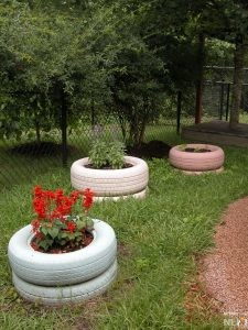 Installing Tire Planters