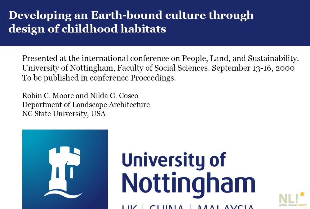 Developing an Earth-bound Culture Through Design of Childhood Habitats