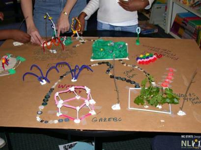 Children working on site designs in Community Center