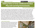 Adding Value to Early Childhood Outdoor Play and Learning Environments