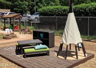 Teepee and dramatic play deck