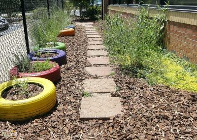 Sensory garden with pathway surrounded by colorful plantings