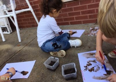 Painting with mud and natural objects