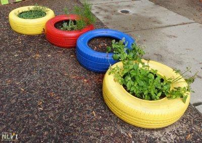 Colorful tire planters