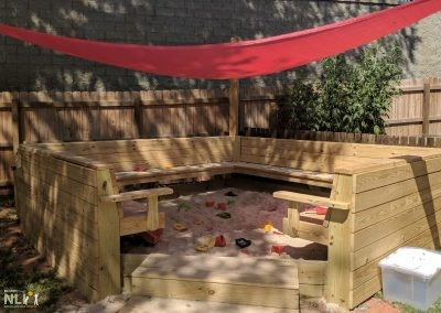 Sand play with seating covered by shade sail